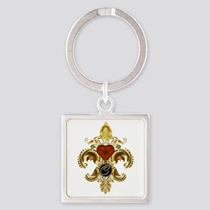 Monogram C Fleur-de-lis Square Keychain