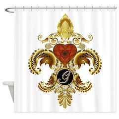 Monogram G Fleur-de-lis Shower Curtain