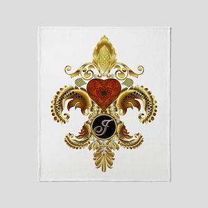 Monogram J Fleur-de-lis Throw Blanket