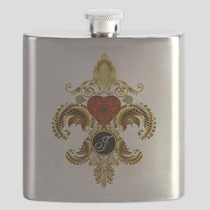 Monogram J Fleur-de-lis Flask