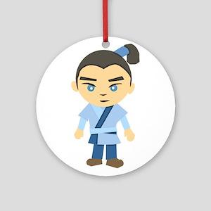 Cartoon Ninja Boy Ornament (Round)