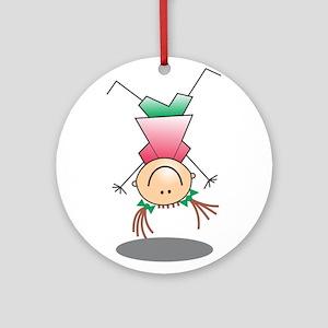 Cartoon Stick Figure Girl Cartwheel Ornament (Roun