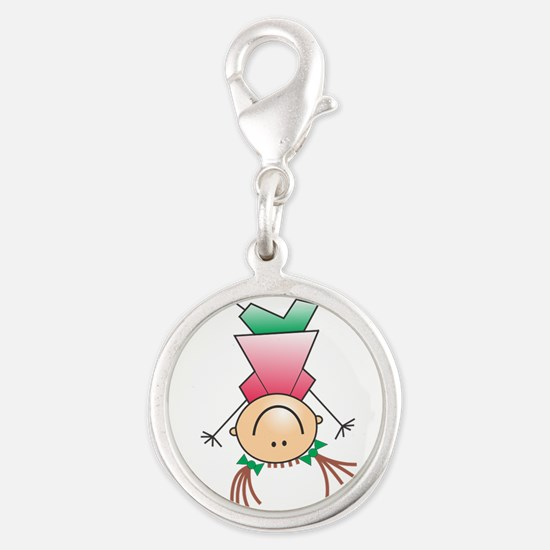 Cartoon Stick Figure Girl Cartwheel Charms