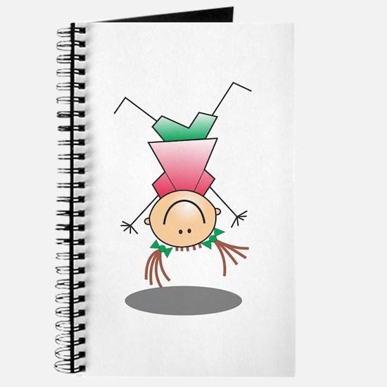 Cartoon Stick Figure Girl Cartwheel Journal