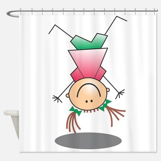 Cartoon Stick Figure Girl Cartwheel Shower Curtain