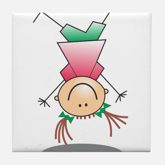Cartoon Stick Figure Girl Cartwheel Tile Coaster