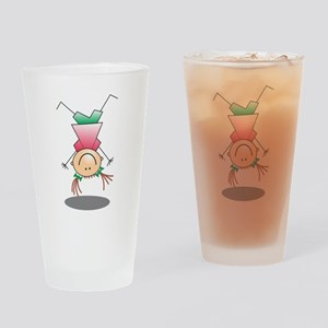 Cartoon Stick Figure Girl Cartwheel Drinking Glass