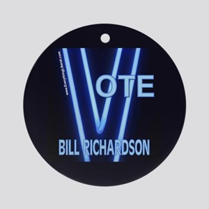 Bill Richardson Neon Vote Ornament (Round)