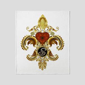 Monogram S Fleur-de-lis Throw Blanket