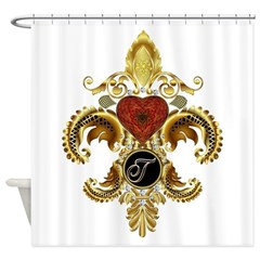 Monogram T Fleur-de-lis Shower Curtain