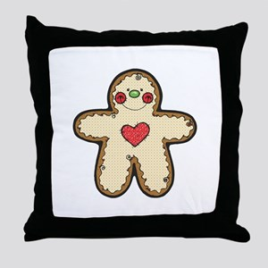 Ginger Bread Cookie with Heart Throw Pillow