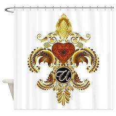 Monogram U Fleur-de-lis Shower Curtain