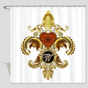 Monogram W Fleur-de-lis Shower Curtain