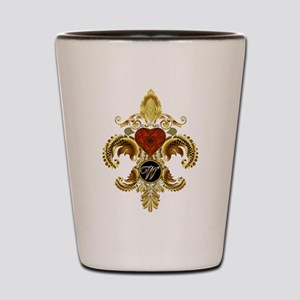 Monogram W Fleur-de-lis Shot Glass