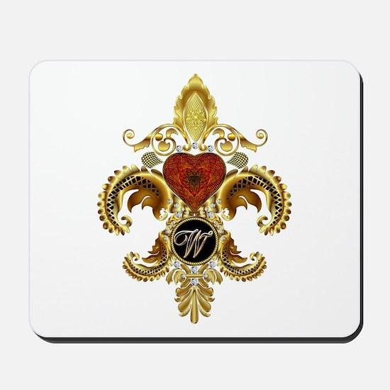 Monogram W Fleur-de-lis Mousepad