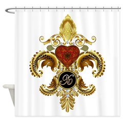 Monogram X Fleur-de-lis Shower Curtain