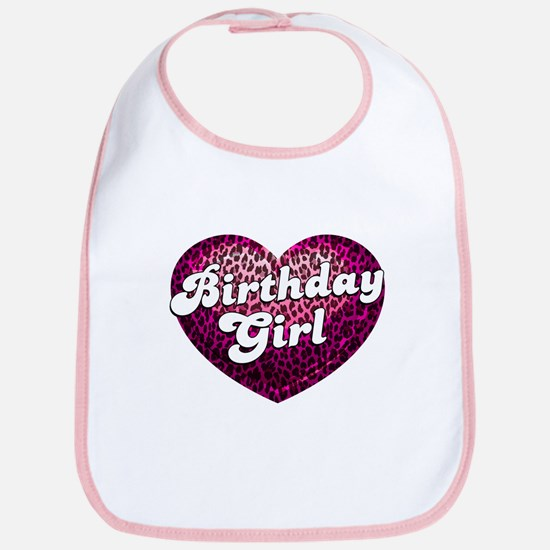 Birthday Girl Leopard Heart Bib