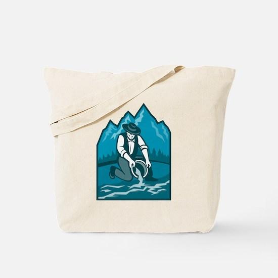 Gold Prospector Miner Pan Retro Tote Bag