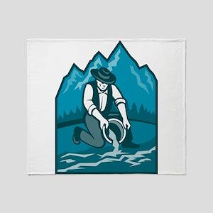 Gold Prospector Miner Pan Retro Throw Blanket