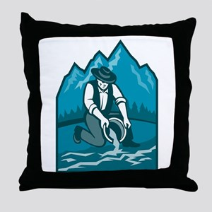 Gold Prospector Miner Pan Retro Throw Pillow