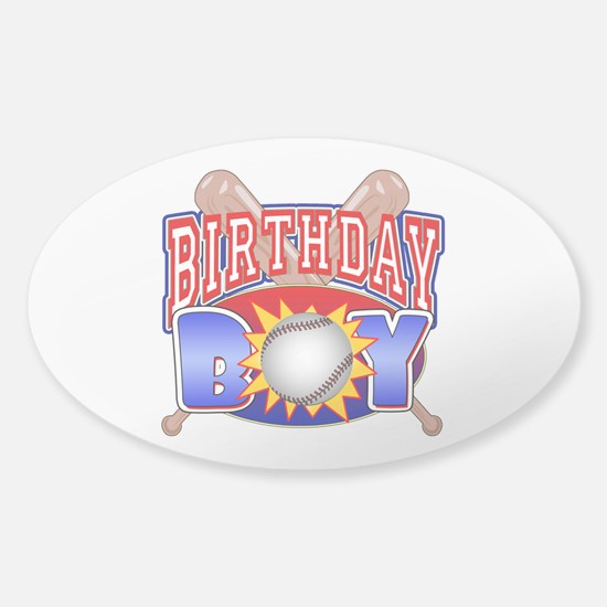 Baseball Birthday Boy Sticker (Oval)