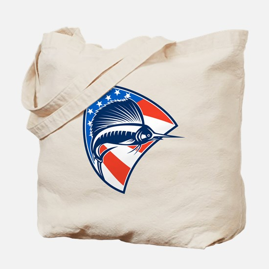 Sailfish Fish Jumping American Flag Shield Retro T
