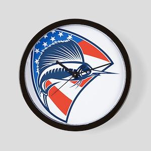 Sailfish Fish Jumping American Flag Shield Retro W