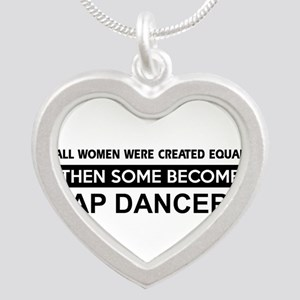 tap dance designs Silver Heart Necklace