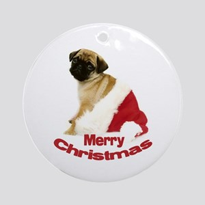 Holiday Pug Ornament (Round)