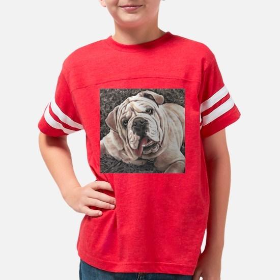 bull dog drawing Youth Football Shirt