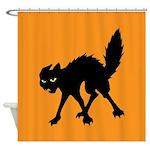 Black Cat Halloween Theme Shower Curtain