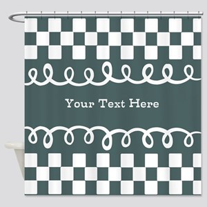 Custom Text Decorative Checkered Shower Curtain