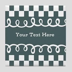 Custom Text Decorative Checkered Tile Coaster