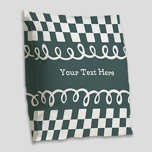 Custom Text Decorative Checkered Burlap Throw Pill