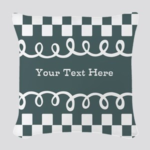 Custom Text Decorative Checkered Woven Throw Pillo
