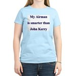 My Airman is smarter than John Kerry Women's Pink