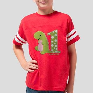 Custom First Birthday Green D Youth Football Shirt