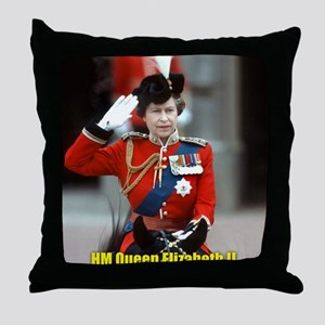 HM Queen Elizabeth II Trooping Throw Pillow