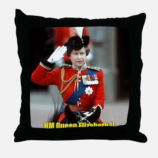 HM Queen Elizabeth II Trooping Throw Pillow