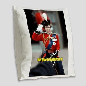 HM Queen Elizabeth II Trooping Burlap Throw Pillow