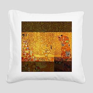 Gustav Klimt Tree of Life Art Square Canvas Pillow