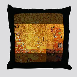 Gustav Klimt Tree of Life Art Nouveau Throw Pillow