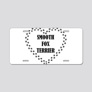 smooth fox terrier paw heart Aluminum License Plat