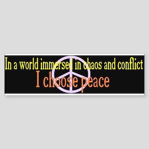 I Choose Peace Black Bumper Sticker