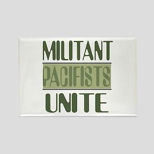 Militant Pacifists Unite Rectangle Magnet