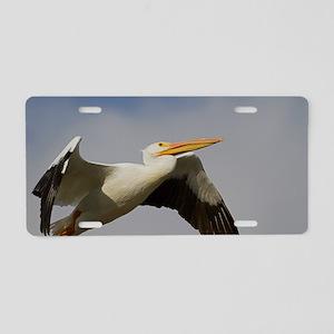 White Pelican Departure Aluminum License Plate