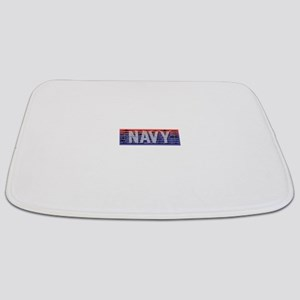 Navy Ships White Bathmat