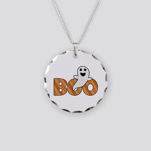 BOO Spooky Halloween Casper Necklace Circle Charm