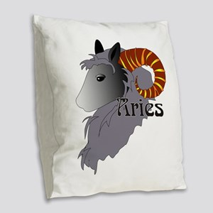 Whimsical Aries Burlap Throw Pillow