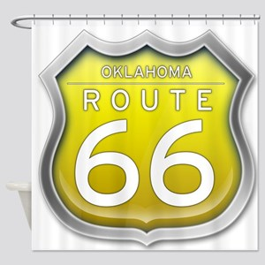 Oklahoma Route 66 - Yellow Shower Curtain